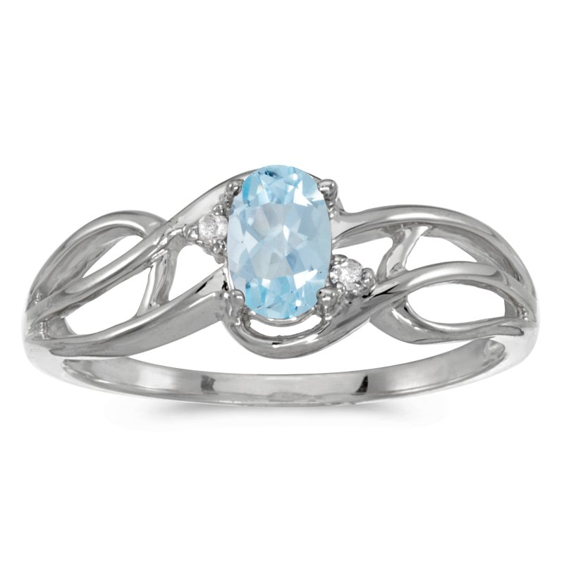 Color Merchants 10k White Gold Oval Aquamarine And Diamond Curve Ring