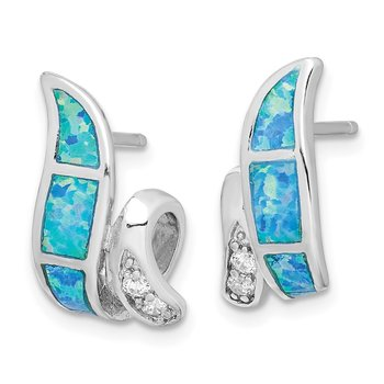 Sterling Silver CZ Blue Inlay Created Opal Twisted Earrings
