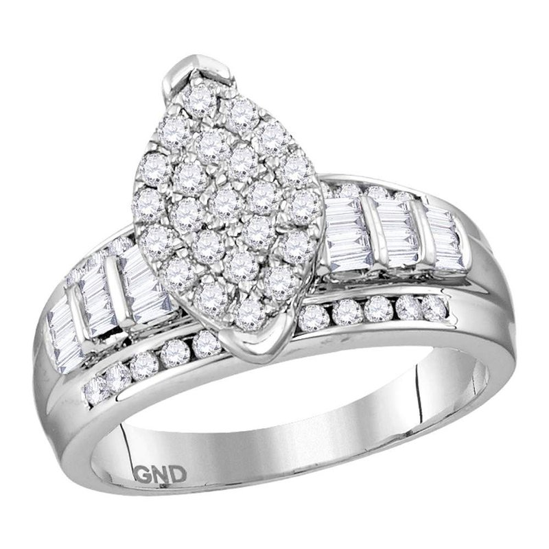 Gold-N-Diamonds, Inc. (Atlanta) Sterling Silver Womens Round Diamond Oval Cluster Bridal Wedding Engagement Ring 1/2 Cttw