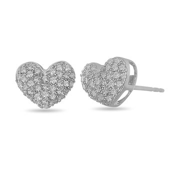 925 SS and Diamond Pave Set Heart Stud Earring