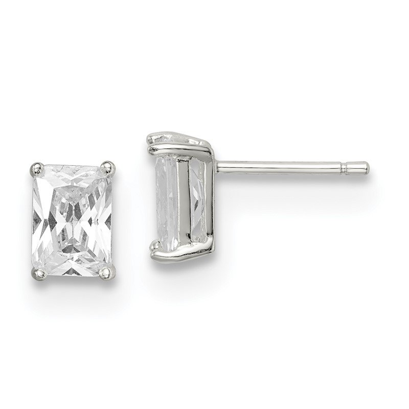 Sterling Silver Emerald-cut 7x5 Basket Set CZ Stud Earrings