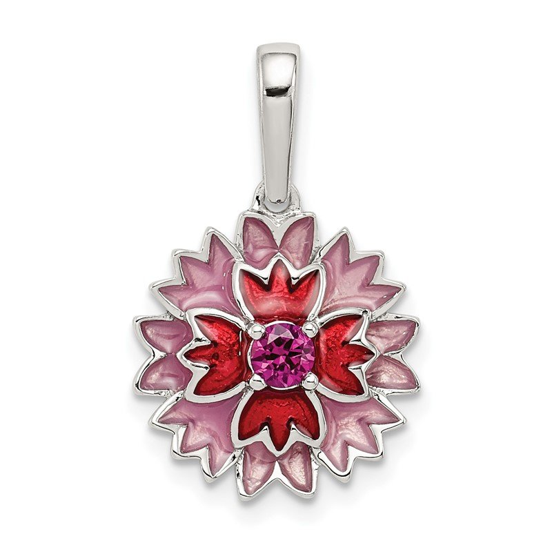 Quality Gold Sterling Silver Created Ruby and Enamel Flower Pendant