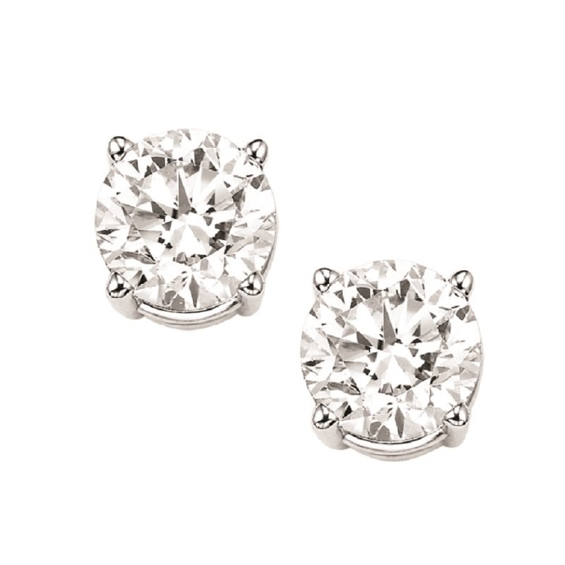 Gems One Diamond Stud Earrings in 18K White Gold (1 1/2 ct. tw.) I1/I2 - J/K