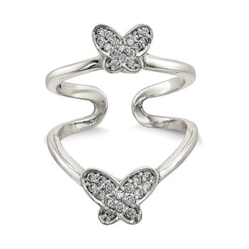Sterling Silver Rhodium Polished CZ Double Butterfly Adjustable Cuff Ring