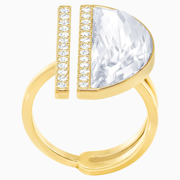 Glow Ring, White, Gold-tone plated