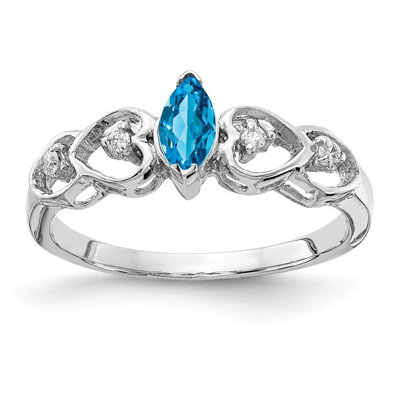 Quality Gold 14k White Gold 6x3mm Marquise Blue Topaz AA Diamond ring