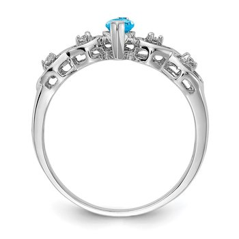 14k White Gold 6x3mm Marquise Blue Topaz AA Diamond ring