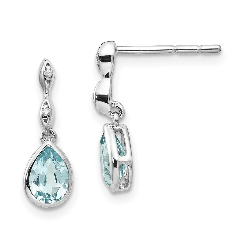 Quality Gold SS White Ice Blue Topaz and .01 ct Diamond Post Earrings