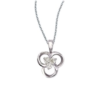 14k White Gold Diamond Flower Pendant (.24 carat)