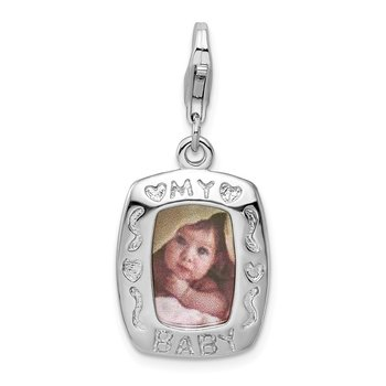 Sterling Silver Polished My Baby Frame w/Lobster Clasp Charm