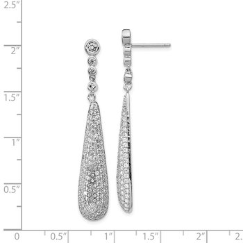 Cheryl M Sterling Silver Rhodium Plated CZ Teardrop Post Dangle Earrings