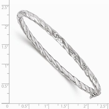Leslie's Sterling Silver Polished and Diamond-cut Hinged Bangle