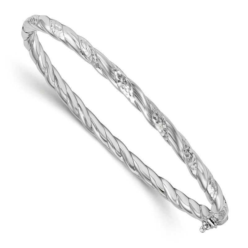 JC Sipe Essentials Leslie's Sterling Silver Polished and Diamond-cut Hinged Bangle