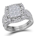 Kingdom Treasures 14kt White Gold Womens Princess Diamond Bridal Wedding Engagement Ring Band Set 2.00 Cttw