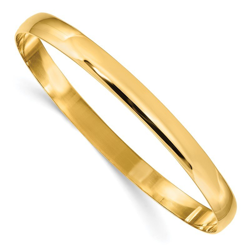 Quality Gold 14k 6mm Solid Polished Half-Round Slip-On Bangle