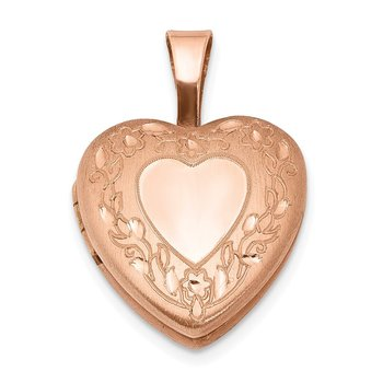 Sterling Silver Rose Gold-plated Flower Border 12mm Heart Locket