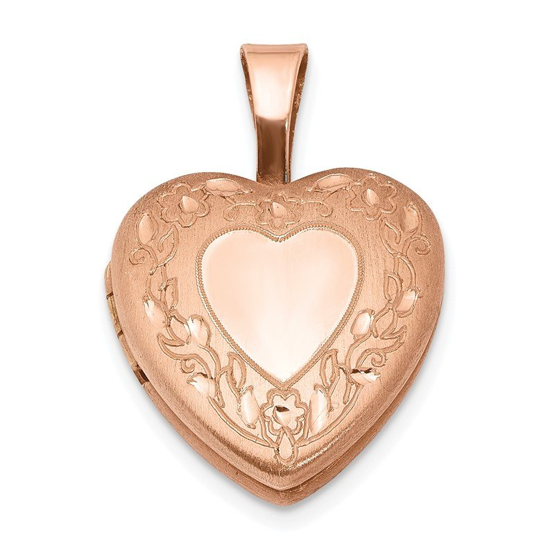 Quality Gold Sterling Silver Rose Gold-plated Flower Border 12mm Heart Locket