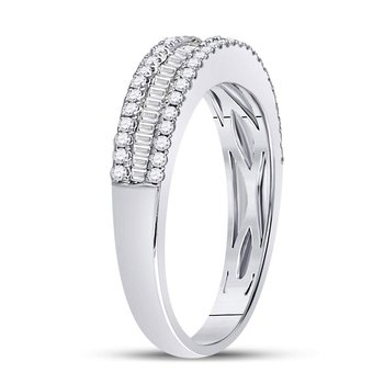 14kt White Gold Womens Round Baguette Diamond Triple Row Band Ring 1/2 Cttw