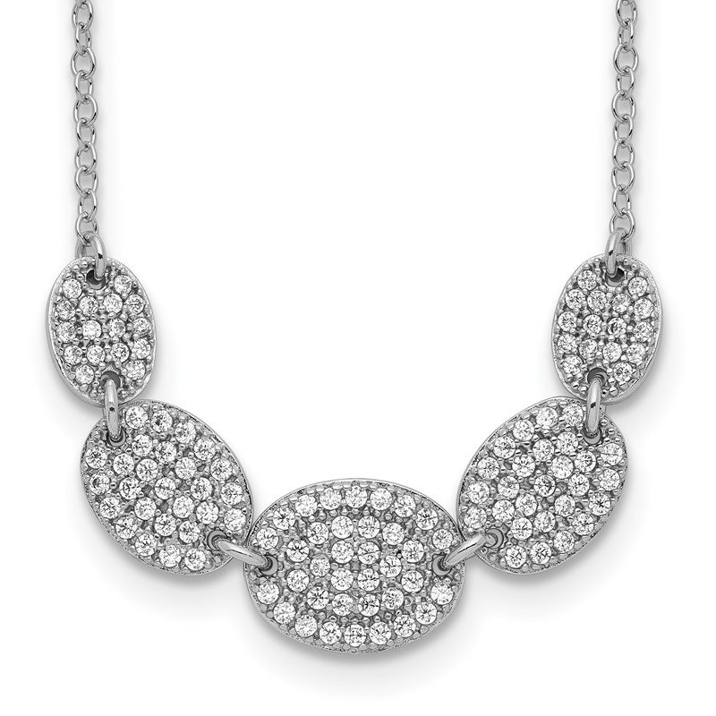 Quality Gold Sterling Silver Rhodium-plated 5-CZ Ovals w/2in ext Necklace