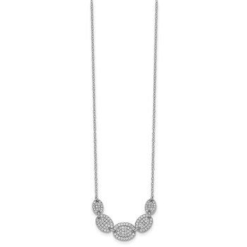 Sterling Silver Rhodium-plated 5-CZ Ovals w/2in ext Necklace