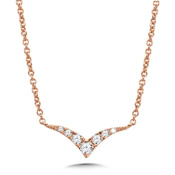 Curved Chevron Diamond Necklace
