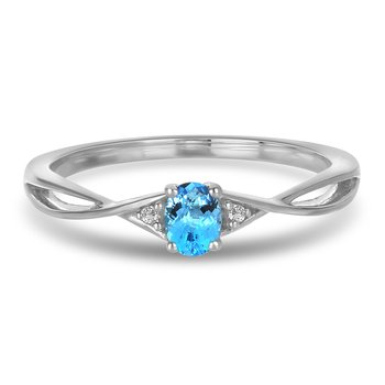 10K WG and diamond and Blue Topaz infinity style birthstone ring