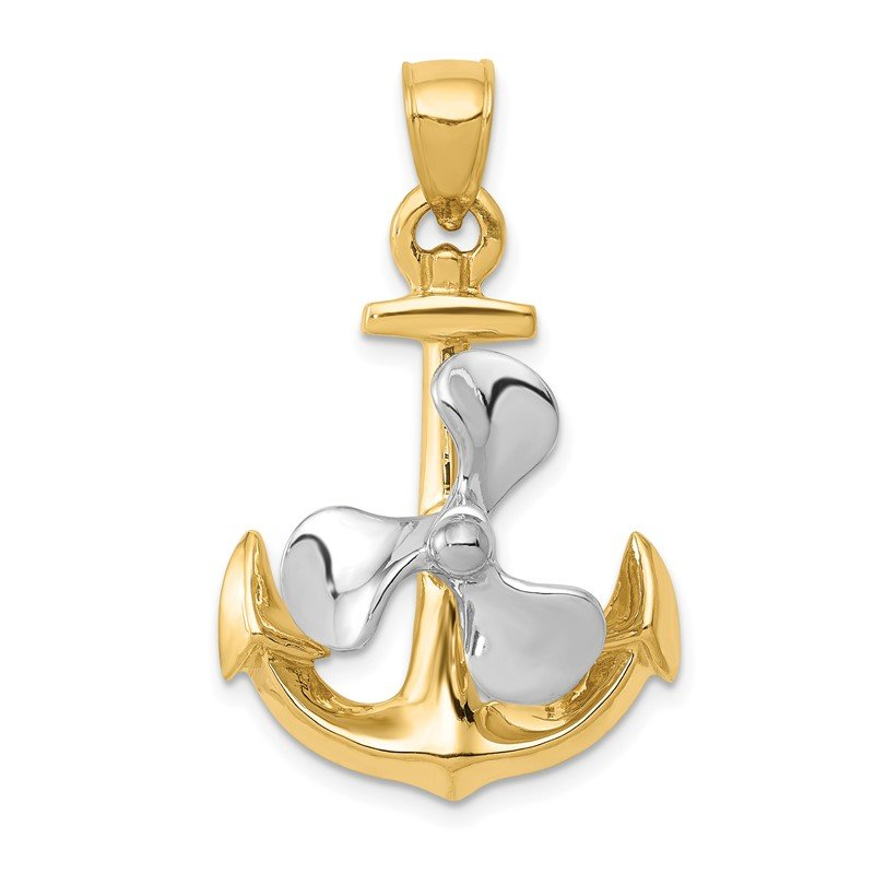 Quality Gold 14k Two-tone 3-D Anchor w/Moveable Propeller Pendant