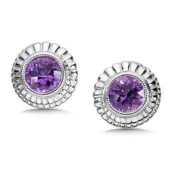 Sterling Silver Amethyst Cairo Post Earrings
