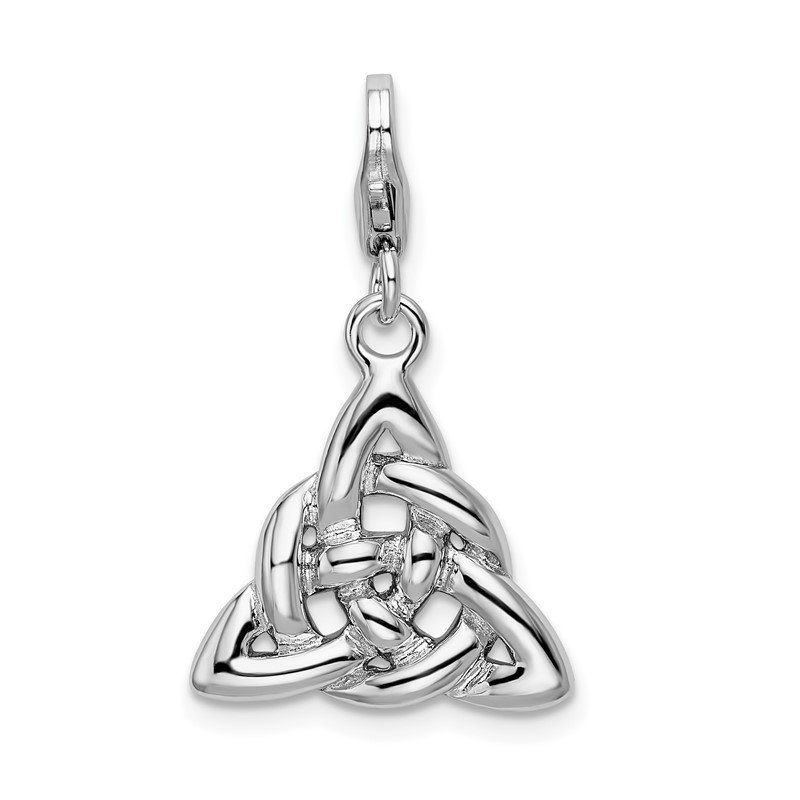 Quality Gold Sterling Silver Amore La Vita Rhodium-plated Polished Trinity Knot Charm