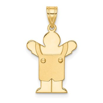 14k Solid Satin Engravable Boy with Overalls Charm
