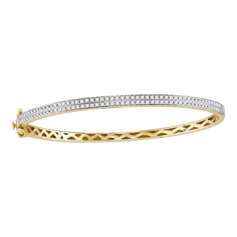 Gold-N-Diamonds, Inc. (Atlanta) 14kt Yellow Gold Womens Round Diamond Bangle Bracelet 1.00 Cttw