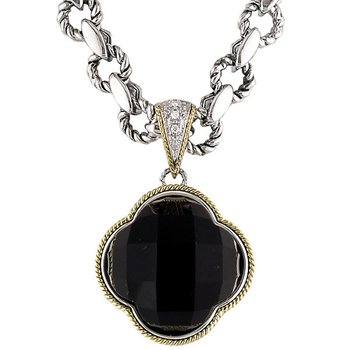 18kt and Sterling Silver Black Onyx Clover Diamond Pendant with Signature Chain