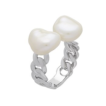 Honora Sterling Silver 8-10mm White Baroque Freshwater Cultured Pearl Open Ring