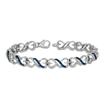 925 SS Blue and White Diamond on a Heart Linked Infinity Bracelet