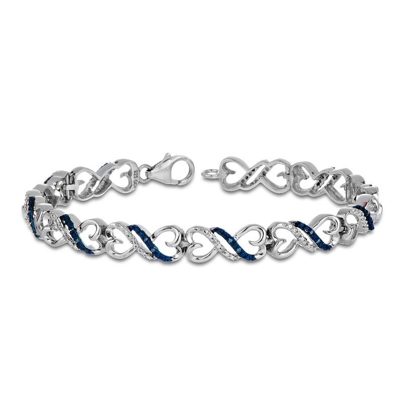 BB Impex 925 SS Blue and White Diamond on a Heart Linked Infinity Bracelet