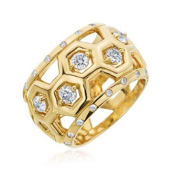"Honeybee ""B"" Halfway Diamond Honeycomb Dome Ring R881HG"