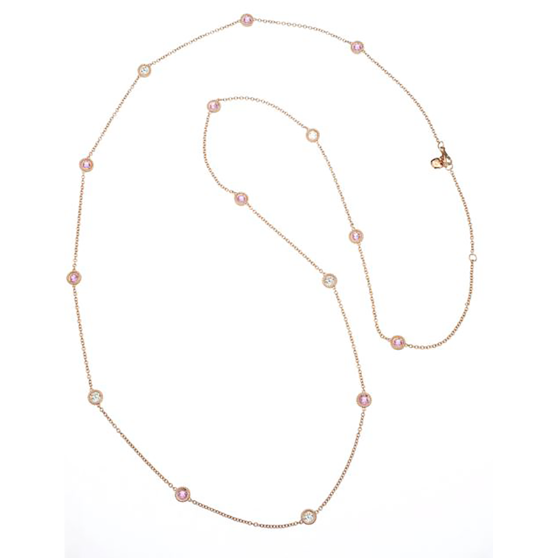 Roberto Coin Cento And Pink Sapphire Station Necklace