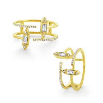 Double Diamond Band with Art Deco Details Set in 14 Kt. Gold
