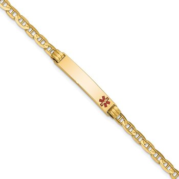 14K Medical Red Enamel Anchor Link ID Bracelet