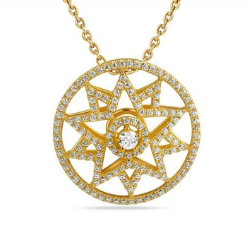 "14K star design necklace with 146 Diamonds 0.49CT 18"" lenght"