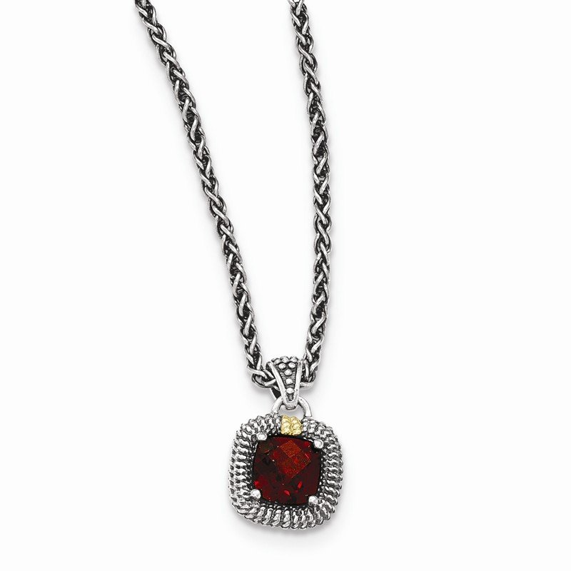Shey Couture Sterling Silver w/14ky Garnet Necklace