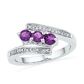 10kt White Gold Womens Round Lab-Created Amethyst 3-stone Bypass Ring 1/2 Cttw
