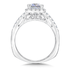 Valina Square shape halo mounting .36 ct. tw., 1 ct. Princess cut center.