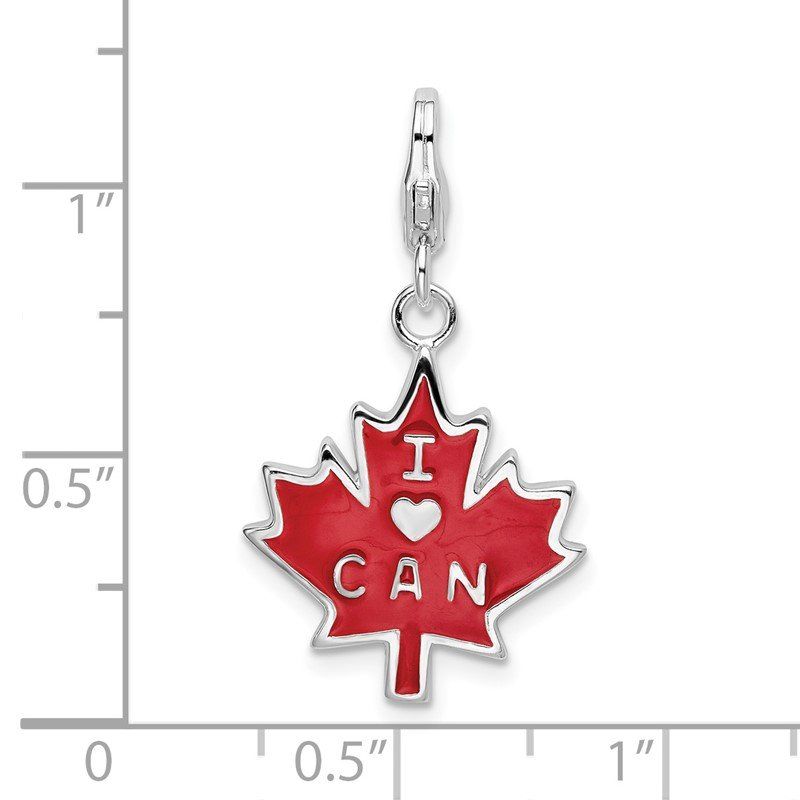 Quality Gold SS RH 3-D Enameled I Love CAN Maple Leaf w/Lobster Clasp Charm