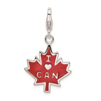 SS RH 3-D Enameled I Love CAN Maple Leaf w/Lobster Clasp Charm