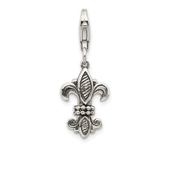 Sterling Silver 3-D Antiqued Fleur De Lis w/Lobster Clasp Charm