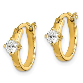 Sterling Silver Gold-tone Square CZ Hoop Earrings
