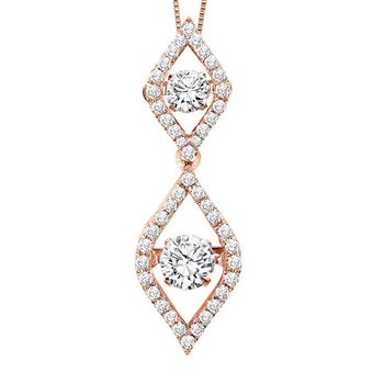 14KP Diamond Rhythm Of Love Pendant 3/4 ctw