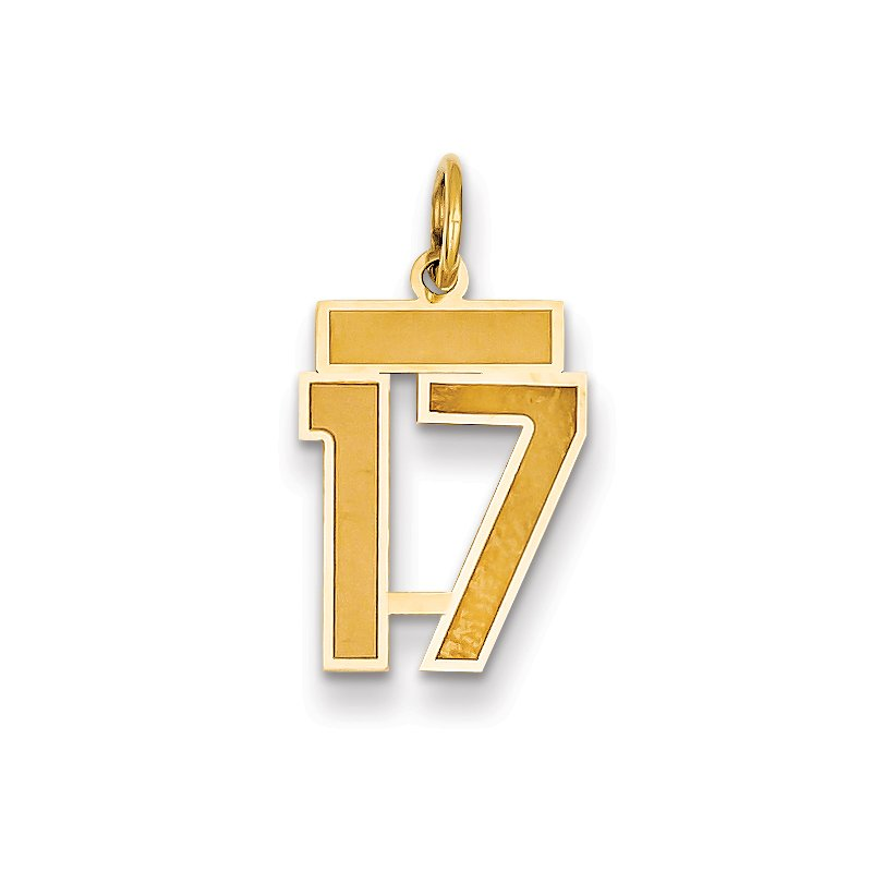 Quality Gold 14k Small Satin Number 17 Charm