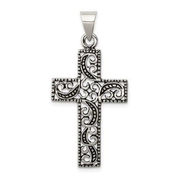Sterling Silver Antiqued Scroll Cross Pendant